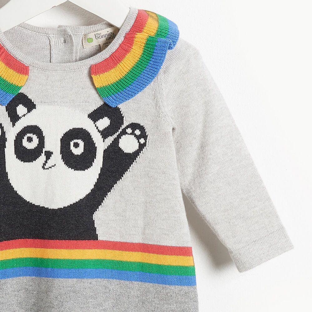 Panda πλεκτό φόρεμα –Γκρι