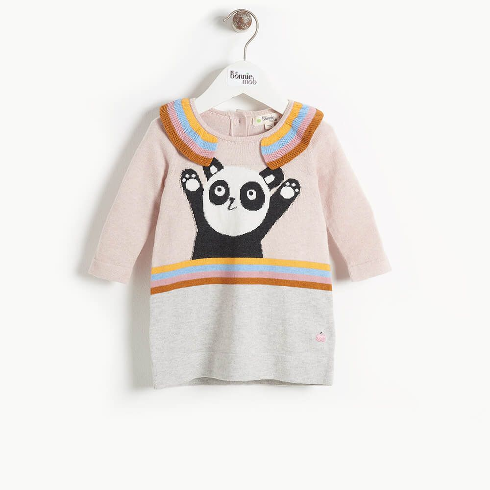 Panda πλεκτό φόρεμα –Απαλό Ροζ