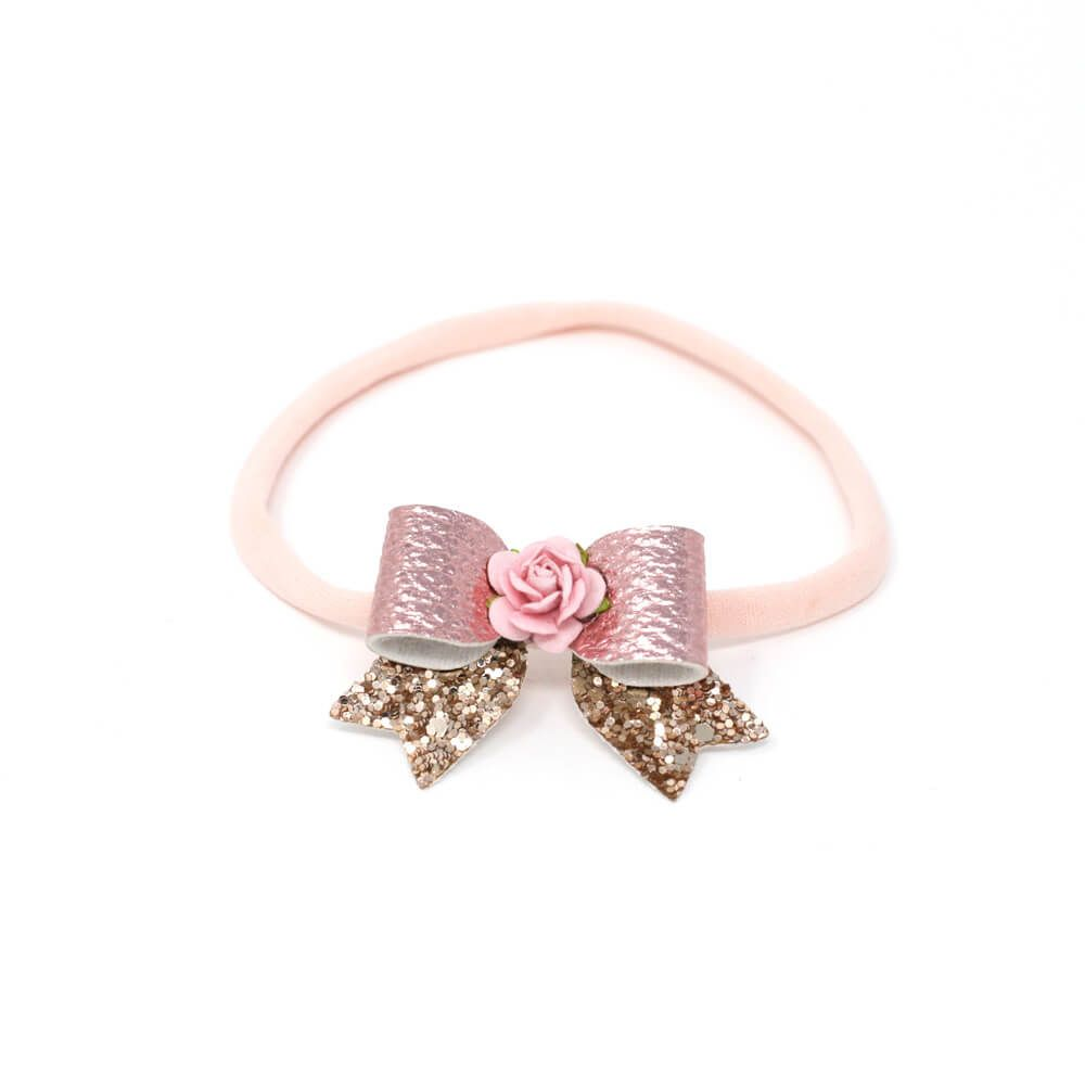 Glitter & Leather Bow - Pink & Gold
