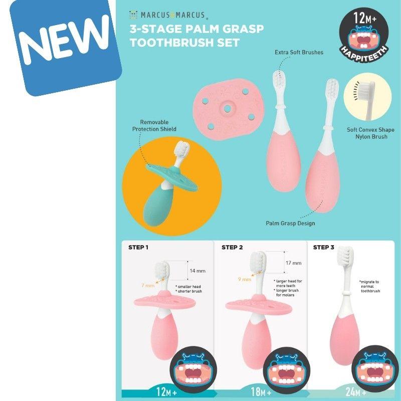 Βρεφικές οδοντόβουρτσες σιλικόνης με 3 στάδια ανάπτυξης σετ των 2 τμχ. ρόζ