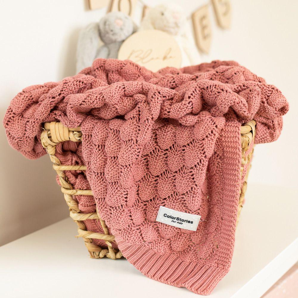 Κουβέρτα Πλεκτή Leaf Dirty Pink